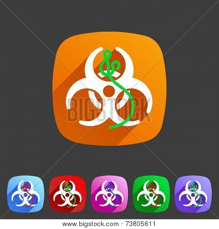 Ebola biohazard flat icon badge