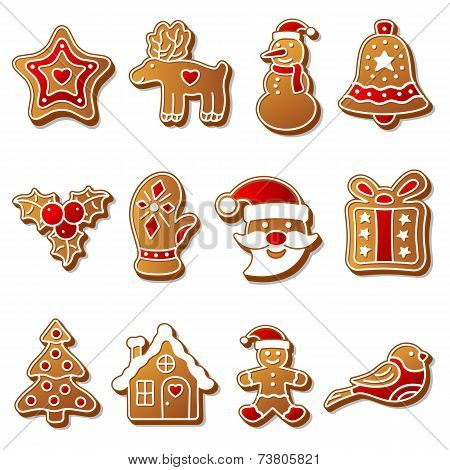 Gingerbread christmas cookies set