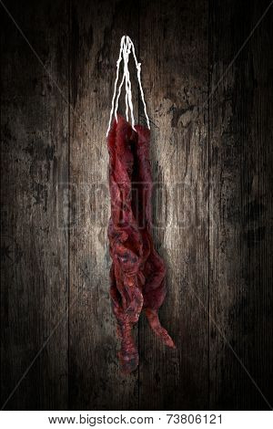 jerky beefi on a wooden background