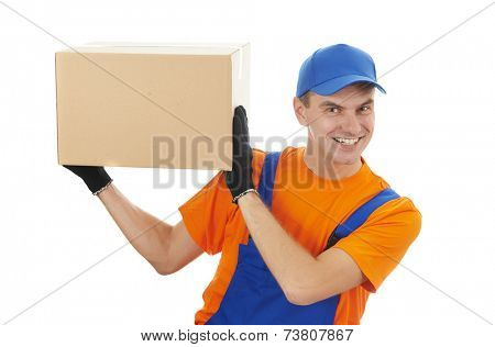 Smiling young male postal delivery courier man delivering package cardboard box