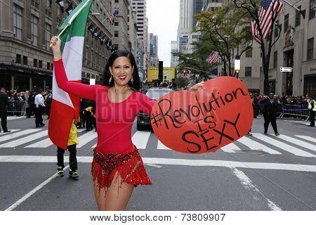 Marni Halassa with revolution sign