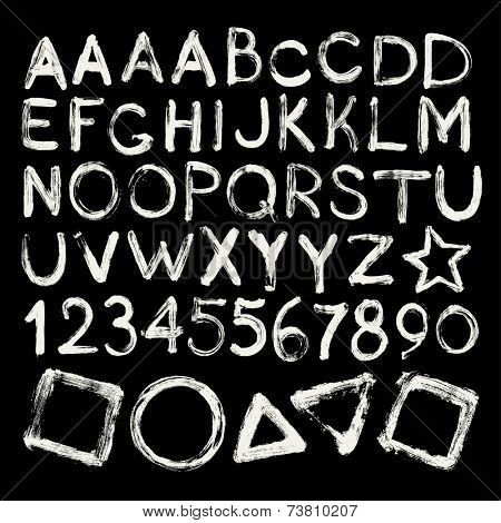 Vector hand-written brush strokes alphabet