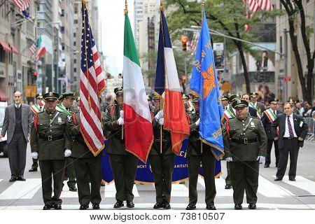 Color guard in uniform