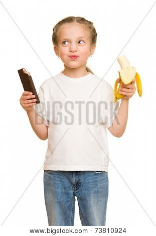 little girl eat banana and chocolate