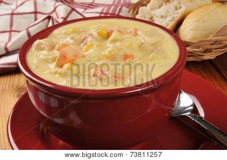 Bowl Of Chicken Corn Chowder