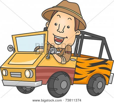 Illustration Featuring a Man Driving a Safari Truck
