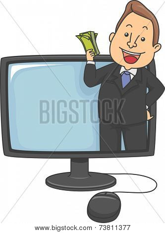 Illustration Featuring a Man Popping Out of a Computer Monitor