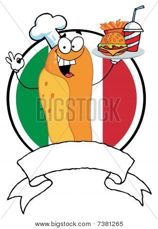 Hot Dog Chef Serving Fast Food, Over A Blank Banner And Italian Flag