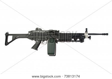Us Army M249 Machine Gun Isolated On White