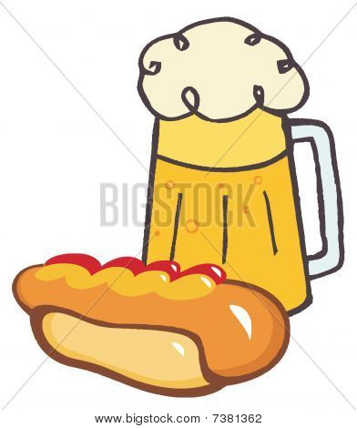 Garnished Hot Dog And Beer