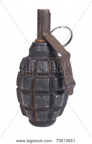 Ww2 Hand Grenade Isolated On A White Background