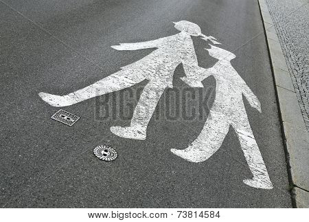 children pedestrian sign on the road
