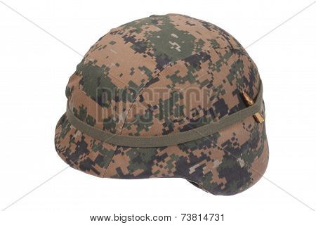 Us Marines Kevlar Helmet With Camouflage Cover With Ammo Amulet