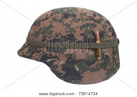 Us Marines Kevlar Helmet With Camouflage Cover