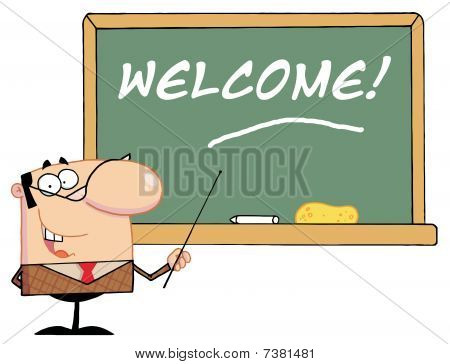 Male School Teacher Pointing To A Welcome Chalkboard