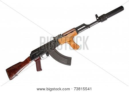AK Romanian Version With Silencer Isolated On White