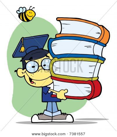 Graduation Asian Boy With Books In Their Hands
