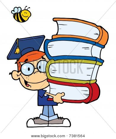 Graduation Boy With Books In Their Hands