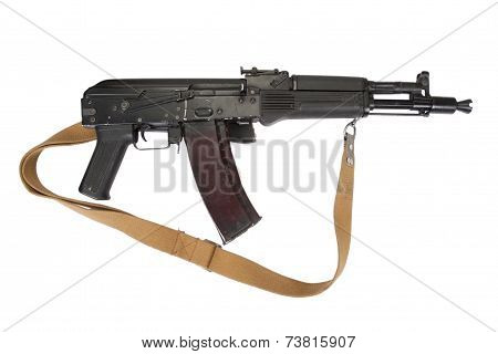 Modern Assault Rifle On White