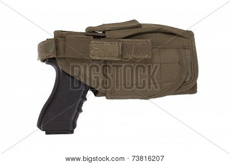 Hand Gun And Tactical Hoster Isolated On White Background