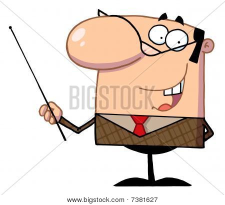 Business Manager Gesturing With A Pointer Stick