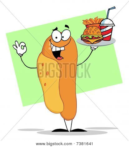 Hot Dog Mascot Cartoon Character Holding Fast Food On A Tray