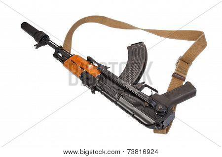 airborn version assault rifle with silencer on white background