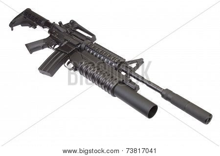 Carbine With Silencer Equipped With An M203 Grenade Launcher