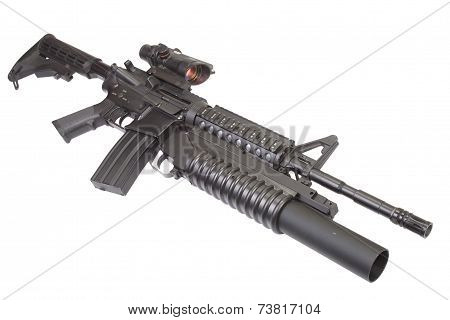 carbine equipped with  grenade launcher
