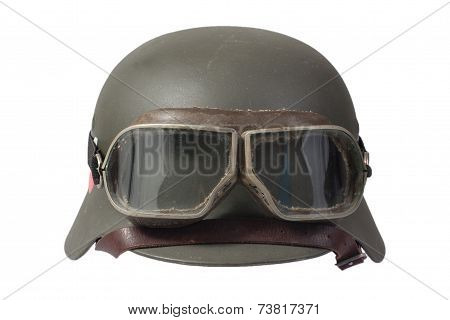 Nazi German Helmet With Protective Goggles