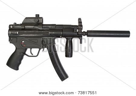 9 mm Submachine Gun With Silencer Isolated On A White Background