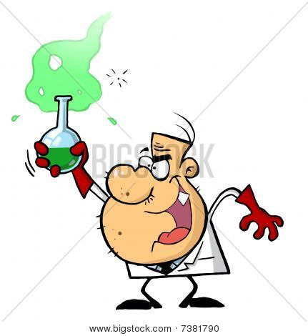 Mad Scientist Holds Bubbling Beaker Of Chemicals