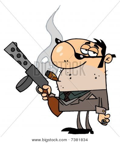 Cartoon Character Mobster Carries Weapon
