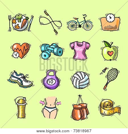Fitness sketch colored icons set