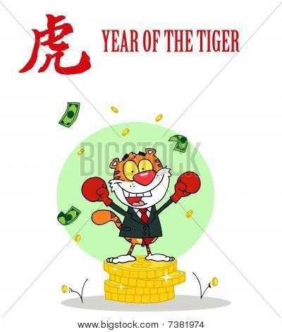 erfolgreiches Geschäft Tiger auf Münzen, mit einem Jahr die Tiger chinesische Symbol und text