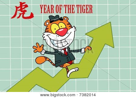 Business Tiger On A Profit Arrow, With A Year Of The Tiger Chinese Symbol And Text