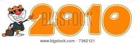 Cartoon Character Happy Tiger Pointing Orange 2010 Year
