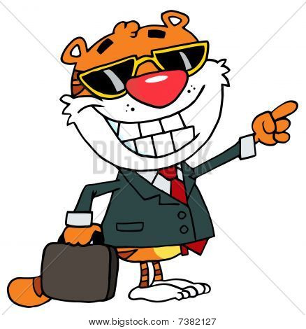Cartoon Character Happy Tiger Pointing Towards Success