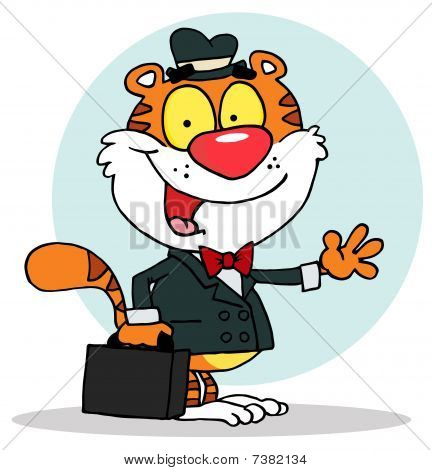 Salesman Tiger Waving And Carrying A Briefcase,background