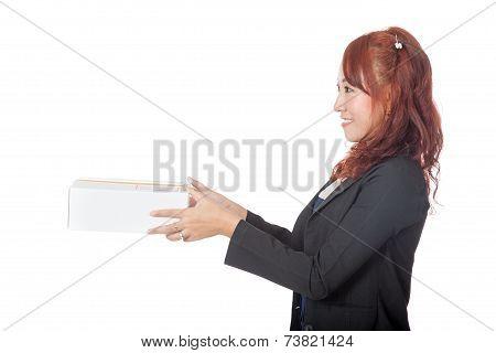 Asian Office Girl Giving A Box