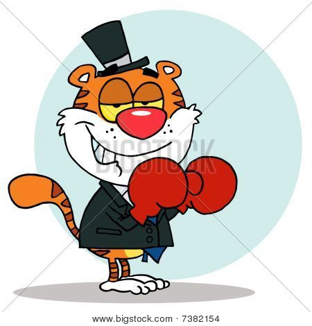 Tiger With Boxing Gloves,background