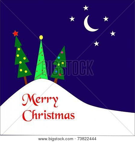 Three christmas trees on a hill covered by snow with a moon and stars in the sky.  Merry Christmas wishes in red.