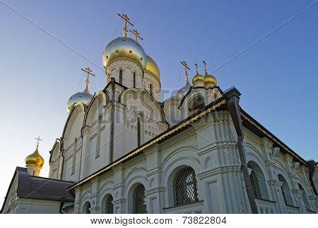 Domes Of Cathedral Of Nativity Of Mary In Conception Convent In Moscow