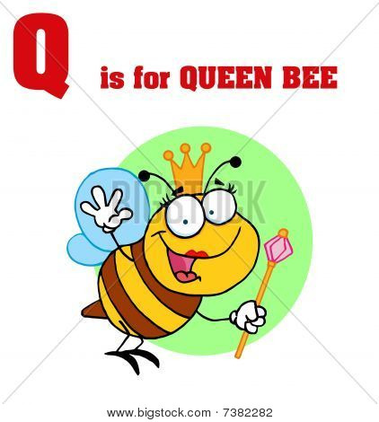 Funny Cartoons Alphabet with Text-Q