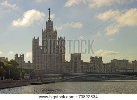 Moscow City Center Highrise Tower On The Sunrise