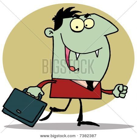 Green vampire with briefcase