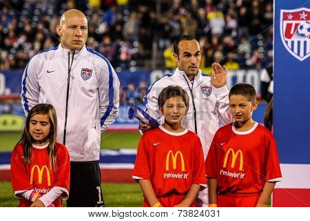 HARTFORD - OCTOBER 10: Brad Guzan (L) and Landon Donovan (R) on stadium before socce match between US Men`s National Team vs Ecuador, on October 10, 2014, in Rentschler Field stadium, Hartford, USA.
