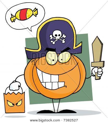 Cartoon character halloween pumkin bag and wooden sword