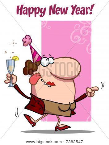Frau feiern freudig neu