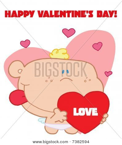 Romantic cupid with valentine hearts holding red love heart with happy valentine's day sign